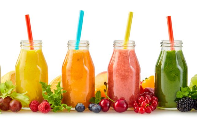 Different smoothie flavors lined up as option for soft food to have after surgery